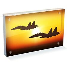 "Sukhoi Su-27 Fighter Jet Photo Block 6 x 4"" - Desk Art Office Gift #15825"