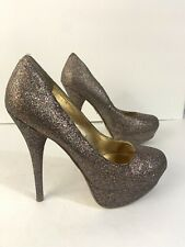 """Bakers Womens Size 7.5 Very High 5"""" Platform Heels Glitter Round Toe Multicolor"""