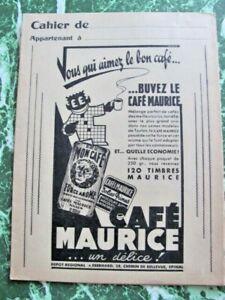 PROTÈGE CAHIER PUBLICITAIRE  CAFÉ MAURICE  TIMBRE MAURICE