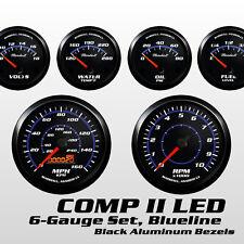 C2 Blueline 6 Gauge Set, Black Bezels, 0-90 Ohm Fuel Level, Cobalt Blue Accents