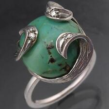 Custom Turquoise & Diamond Solid 18k SOLID WHITE GOLD COCKTAIL RING Mid Sz M
