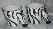 Two 2  Vintage Set Zebra Animal Rain Forest Figurine Coffee Tea Dessert Cup Mugs