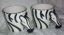 Vintage Set Two 2 Zebra Animal Rain Forest Figurine Coffee Tea Dessert Cup Mugs