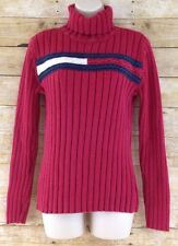 Tommy Hilfiger Womens Large Big Logo Ribbed Knit Turtleneck Cotton Sweater