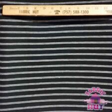 Jersey Knit Polyester Poly Spandex Black & White Thin Stripe Fabric by the Yard