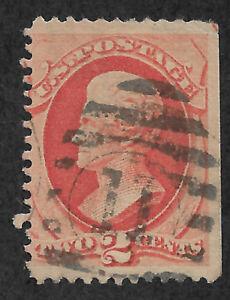 "US # 178 (1875) 2c - Used - VG  EFO: Guide Arrow 'TIP"" UR corner - 1/200"