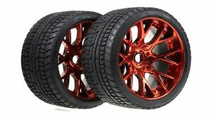 Sweep Racing Road Crusher On Road Belted Red Chrome Monster Truck Rubber Tires (