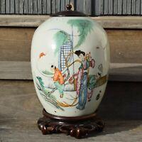 Antique Chinese Porcelain Ginger Jar with wooden lid Deng Shu Ji