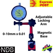 Dial Indicator Gauge 0-10mm with Magnetic Base New FASTPOST & WARRANTY