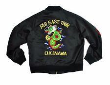 Far East Tour Okinawa Sukajan Jacket Med Black Dragon Bomber Japan Vintage Satin