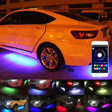 Phone App Control 4x RGB LED Under Car Tube Strip Underglow body Neon Light Kit