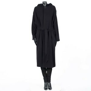 CELINE 4800$ Loose Bathrobe Hooded Coat With Strap In Soft Black Cashmere