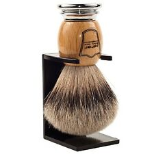 Deluxe Parker Wood & Chrome 100% SILVERTIP BADGER Shave Brush Free Drip Stand