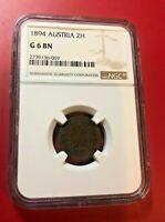 1894 AUSTRIA 2H COIN NGC G6 BN
