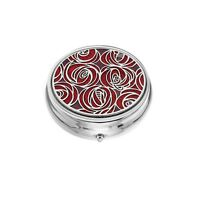 Large Pill Box Silver Plated Mackintosh Rose Roses Red Brand New & Boxed