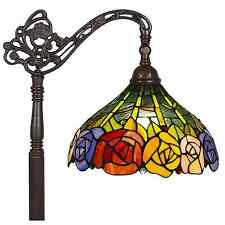 Floor Lamp Tiffany Glass Antique Mission Style Reading Color Roses Design 62""