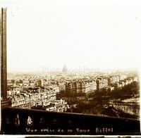 FRANCE Paris Vue de la Tour Eiffel ca 1910, Prise Photo Stereo Plaque Verre VR4L