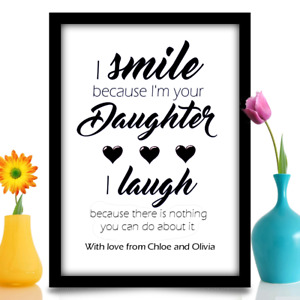 Personalised birthday gift for Mum or Dad from daughter A4 gloss print