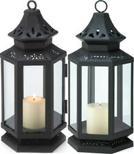 NEW LARGE BLACK IRON & CLEAR GLASS STAGECOACH STYLE PILLAR CANDLE LANTERN
