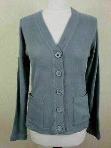 Ladies 1970s Grey Soft Acrylic Cardigan Secretary Twee *M* PD80