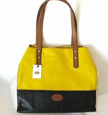 NEW FOSSIL ZOEY YELLOW+WHITE+BLACK+BROWN LEATHER TOTE,SHOULDER+HAND BAG,PURSE