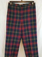 PENDLETON Womens Red Green Plaid MAC LENNAN TARTAN Wool PANTS Size 12 Fits 8-10