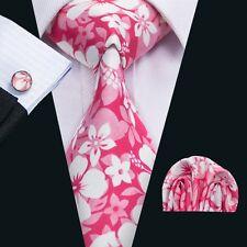 SN-1299 Handsome Men's Tie Pink Floral Womens Silk Necktie Cufflinks Hanky Set