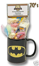 Batman Logo Mug with a KAPOW! selection of 60's Retro Sweets