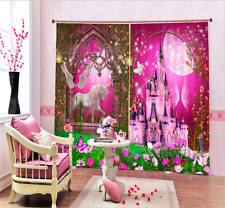 3D Blockout Photo Printing Curtain Draps Fabric Window Curtains Castle & Unicorn