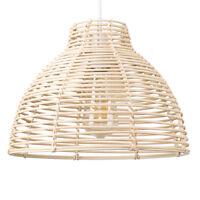 Modern Cream Wicker Rattan Ceiling Pendant Light Lamp Shade Rustic Home Lighting