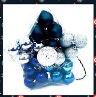 NEW PRIMARK 40 PACK Christmas tree baubles star packs glittery blue silver Gift