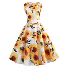 Womens Ladies Summer Sleeveless Vintage Floral Party Skater Midi Dress Size 8-18