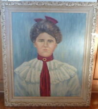Antique / vintage Portrait Young Lady Southern Woman Oil on Canvas Painting