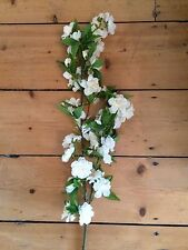 Pretty White Artificial Apple Blossom Branch, Realistic Faux Silk Ivory Flowers