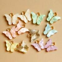 10Pcs/Set Mixed Color Acrylic Butterfly Pendant Charms for DIY Handmade Jewelry