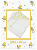 3 Sets Kidz Kiss Velour Hooded Towel with Mitt/Bag/Washcloth [Triangle / Yellow]