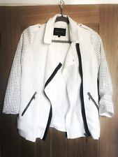 River Island White Long Sleeved Studded Jacket Size 6