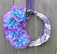 "Handmade White Blue & Purple Floral Grapevine Wreath Small Asymmetrical 11"""