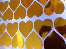 Kraft Heart 80 GOLD Vinyl Stickers for DIY Sticky Labels Craft Wedding Favour UK