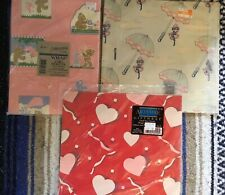 3 Sets Vintage Wrapping Paper Baby Girl, Pink Bear & Bunny, Hearts *NEW*