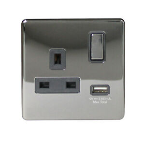 Arlec 13Amp Switched Socket 3.1A USB Outlet Black Nickel 1 Gang 9311GBBN  NEW
