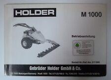 Holder Einachser Mähbalken M1000 Betriebsanleitung