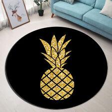 Non-slip Round Gloden Pineapple Area Rugs Room Floor Yoga Carpet Bath Door Mat