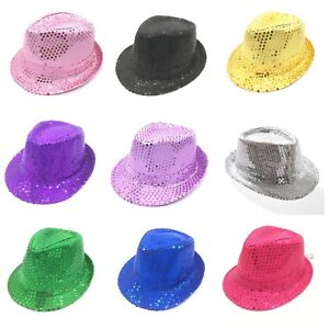 Sequin Trilby Hat Cap Sequinned Dance Party Costume MJ Jazz Hats Fedora