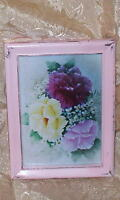 SHABBY PINK WOOD VINTAGE FRAME CHIC WHITE PINK ROSE PRINT COTTAGE FLOWER DECOR