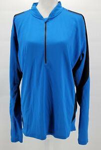 Trayl Full Zip High Visability Cycling Jacket Womens Size XL Blue Black 1/4 Zip