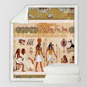 Ancient Hieroglyph Egyptian Sherpa Plush Throw Blanket Fleece Bed Sofa Couch