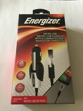 Energizer Micro usb swivel car charger with illuminated por navigator connector