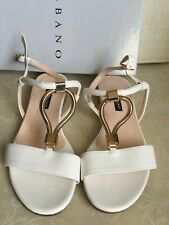 ALBANO  Woman sandals white-gold color, size 36  Sandali Donna colore bianco-oro