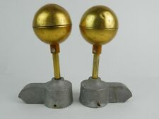"""Pair Aluminum Fence Post toppers gold tone ball / orbs 2"""" Mounting Diameter"""